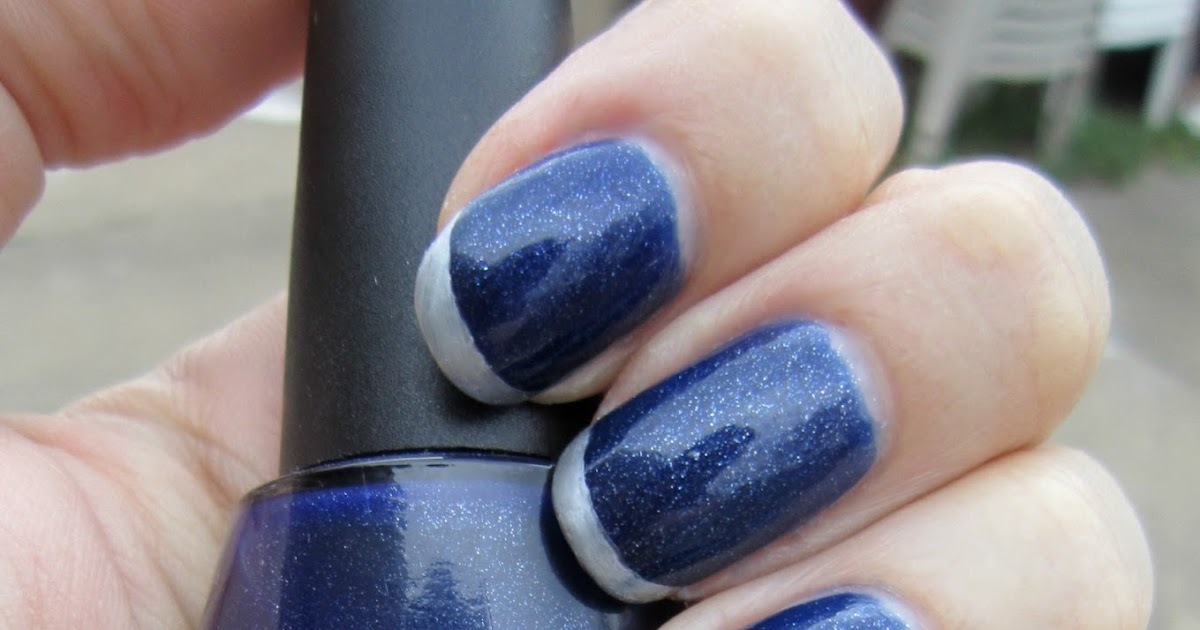 Concrete And Nail Polish Metallic French Tips With Silver Metallic Sharpie