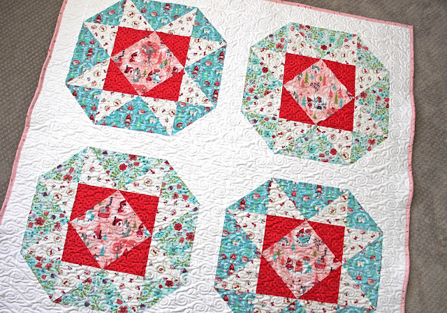 Lucky Star baby quilt by Center Street Quilts found on A Bright Corner - pattern from the Fresh Fat Quarter Quilts Book by Andy Knowlton