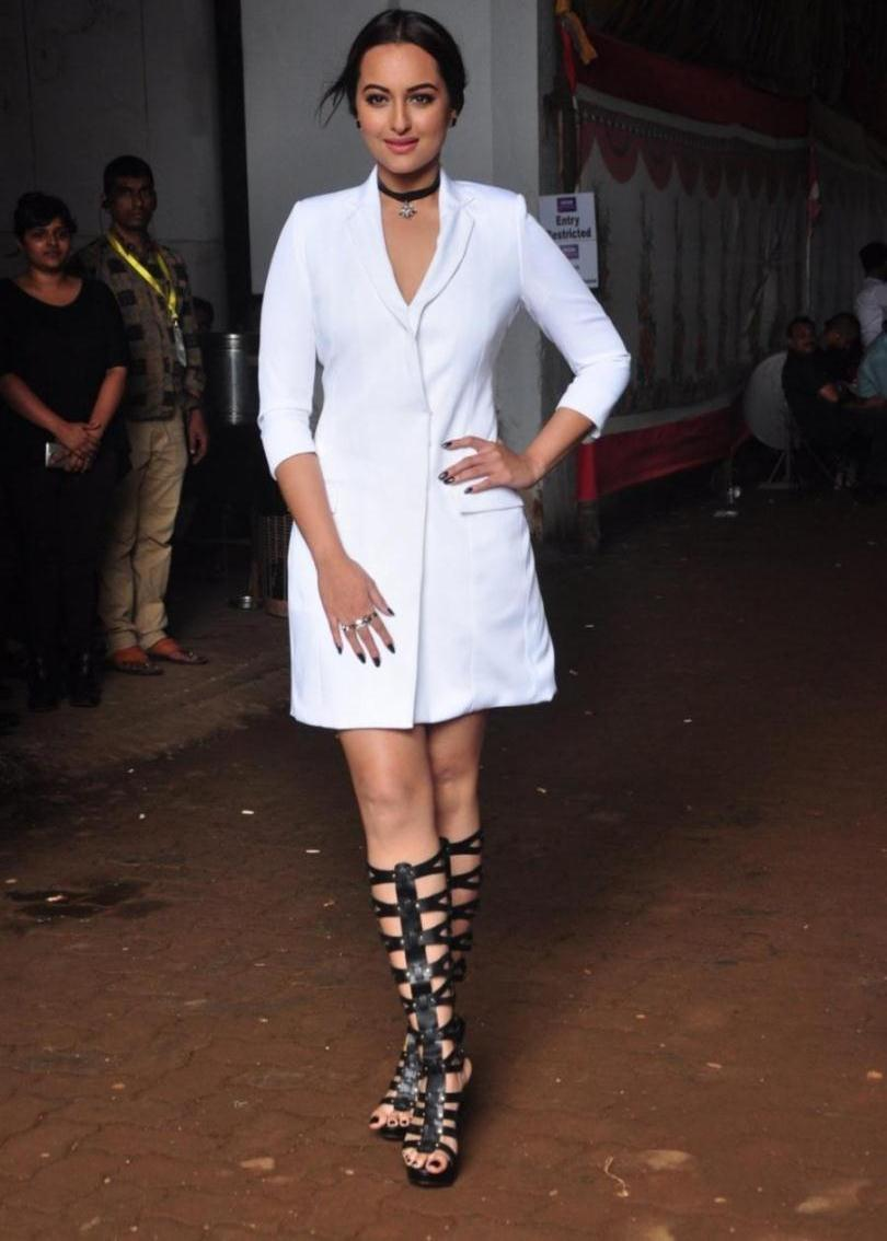 Model Sonakshi Sinha Images In White Shirt At Film Promotion
