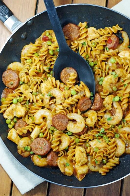 Pasta Jambalaya in the Pan