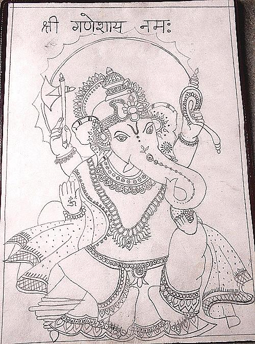 Pencil Drawing of Ganesha