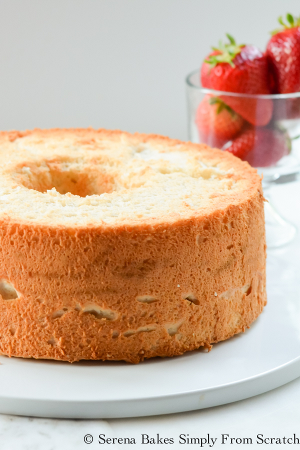 Perfectly sweetened and ultra light Angel Food Cake with a perfect crumb! serenabakessimplyfromscratch.com