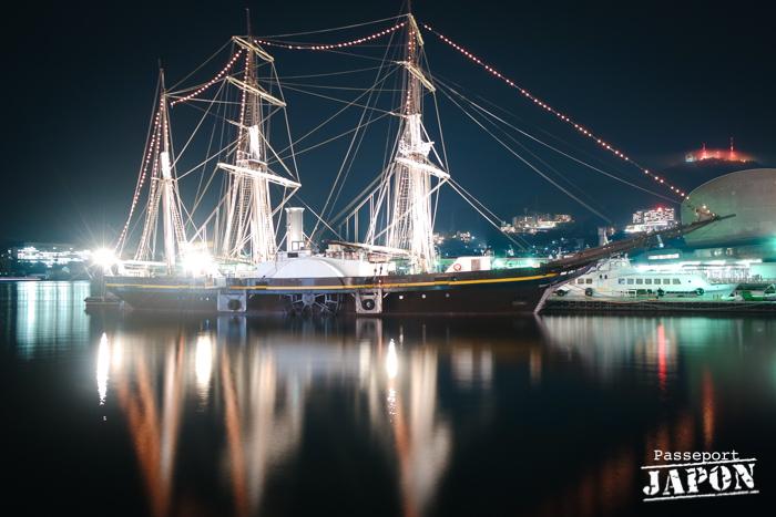 Trois-mâts, port de Nagasaki (nocturne)