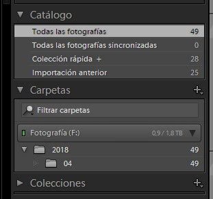 Curso de Lightroom - Biblioteca - Carpetas