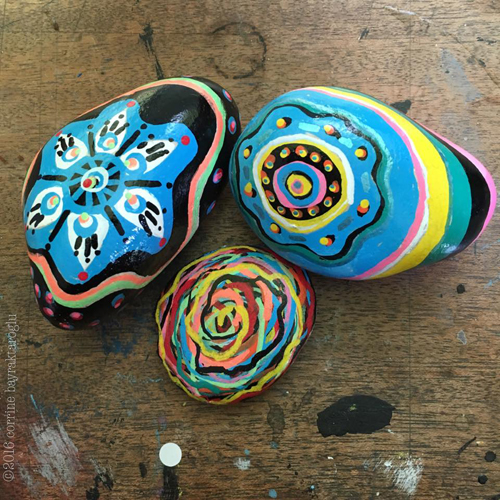 painted stones, zig posterman pens