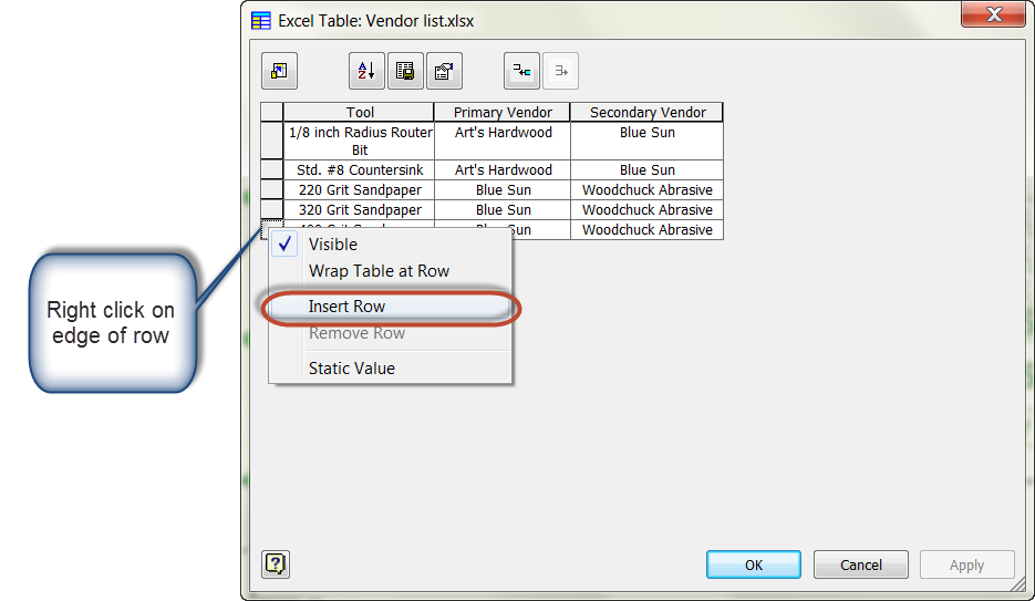 Editing Tables Inserted into Autodesk Inventor Drawings