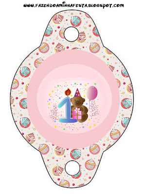 1 yaş Doğum günü, Ayıcık Temalı Parti Seti, Ayıcık Temalı Parti Malzemeleri, First Birthday Printables, Doğum günü süsleri, free party printables, KIZ, teddy bear party printables, ÜCRETSİZ PARTİ SETİ,