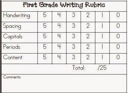 first grade handwriting rubric