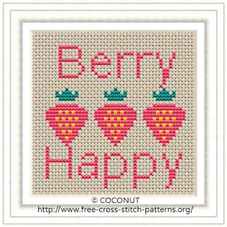 STRAWBERRY, FREE AND EASY PRINTABLE CROSS STITCH PATTERN