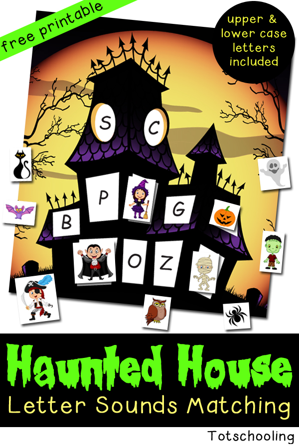 Haunted House Letter Sounds Matching. Great Halloween alphabet activity with friendly monsters and creatures inside a haunted house. Includes a witch, vampire, zombie, ghost and more!