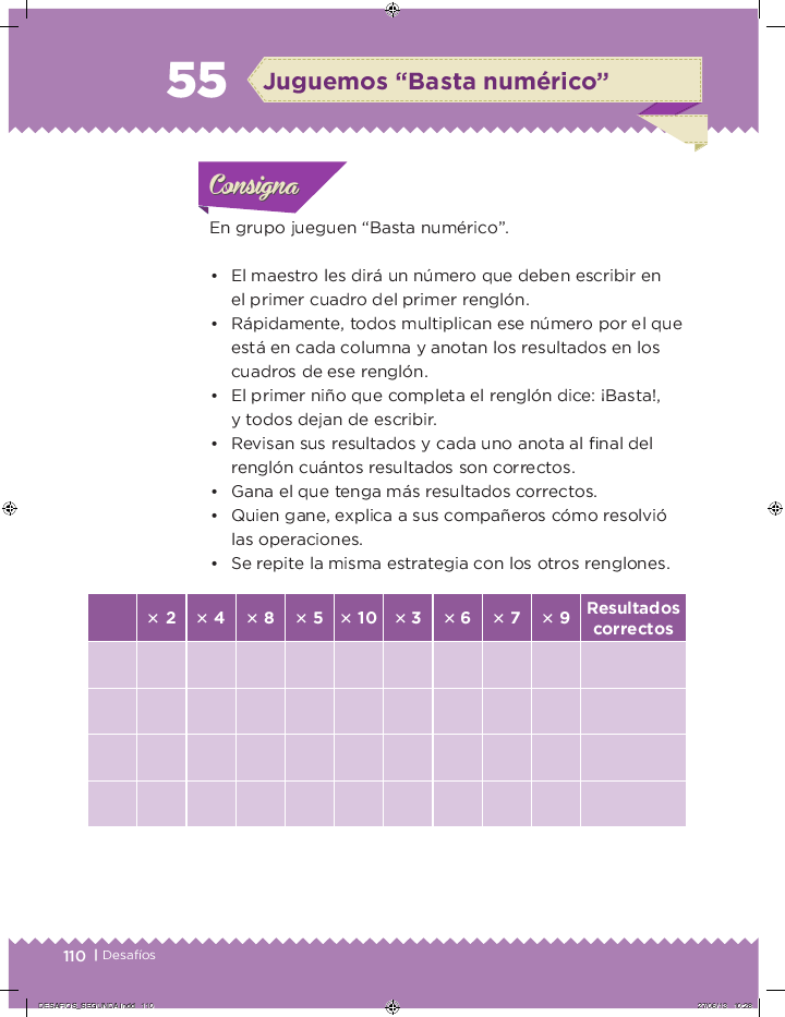 "Juguemos ""Basta numerico"" desafios matemáticos 2do bloque 5/2014-2015"