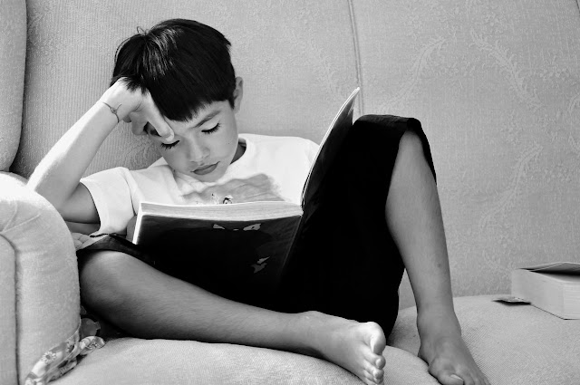 Young boy reading on a couch, books, book