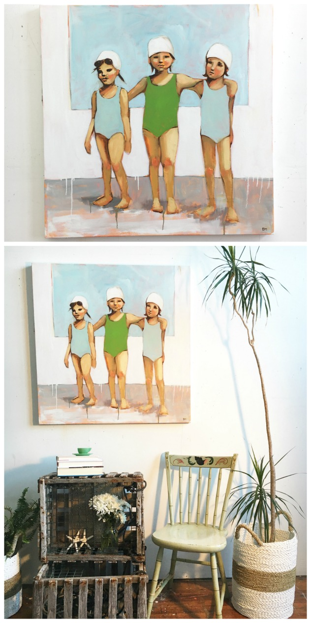 painting of girl swimmers, bathing caps, figurative art