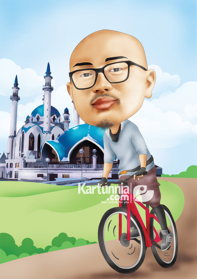 Karikatur Naik Sepeda Sport Kartunnia