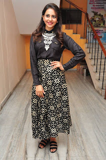 Actress Rakul Preet Singh Stills in Black Dress at Memu Saitham Event Press Meet 0046