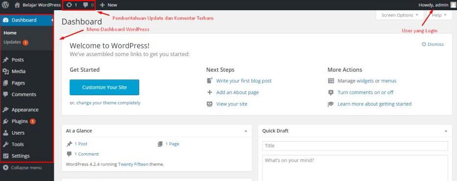 Cara Setting Tampilan Dashboard WordPress Bagi Pemula Banget