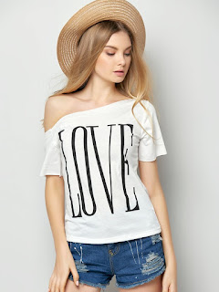 One Shoulder Love Letter Printed Short Sleeve T-Shirts