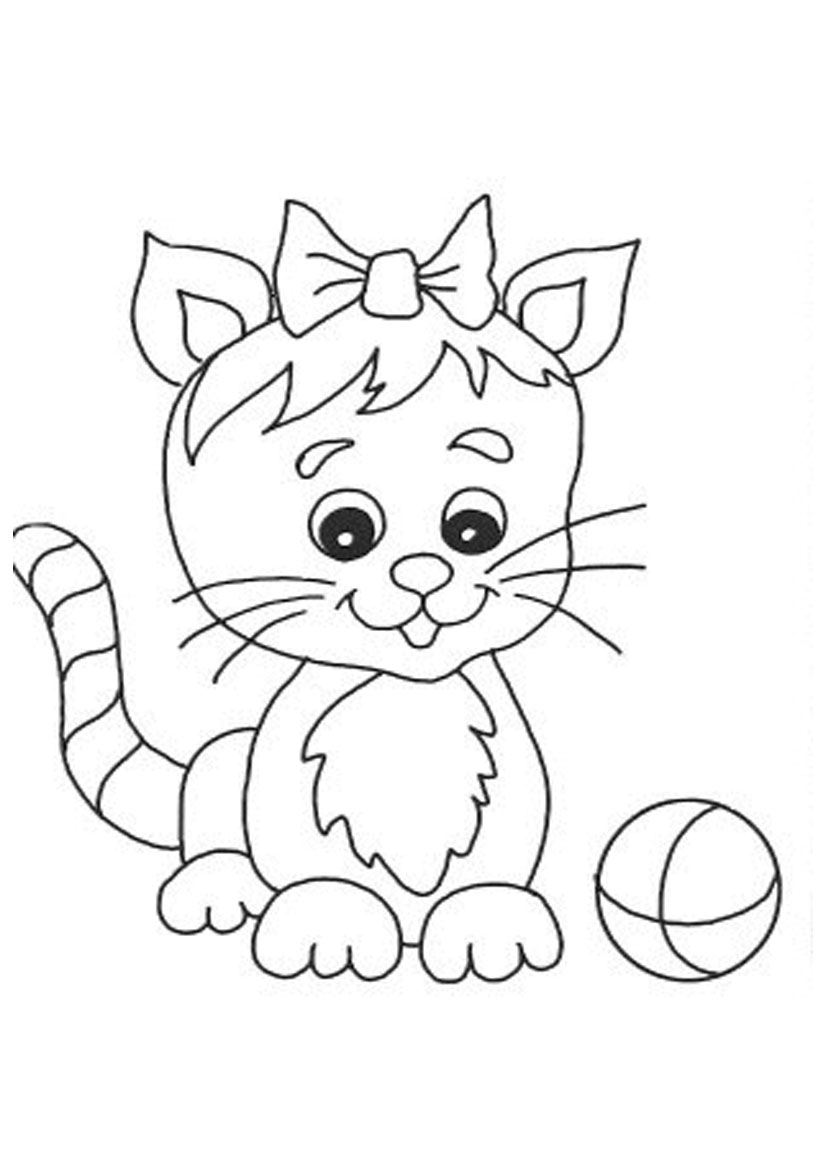 Cute cat with ball coloring for Cat coloring pages free