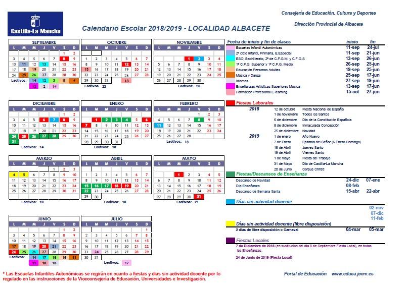 Calendario Escolar 1819.Ceip Severo Ochoa Calendario Escolar Curso 18 19