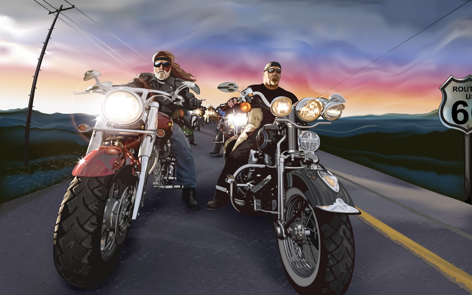 biker lifestyle bikers living harley davidson chopper motorcycle cartoon road outlaw wallpapers route choppers painting place everyone motorcycles bikes well