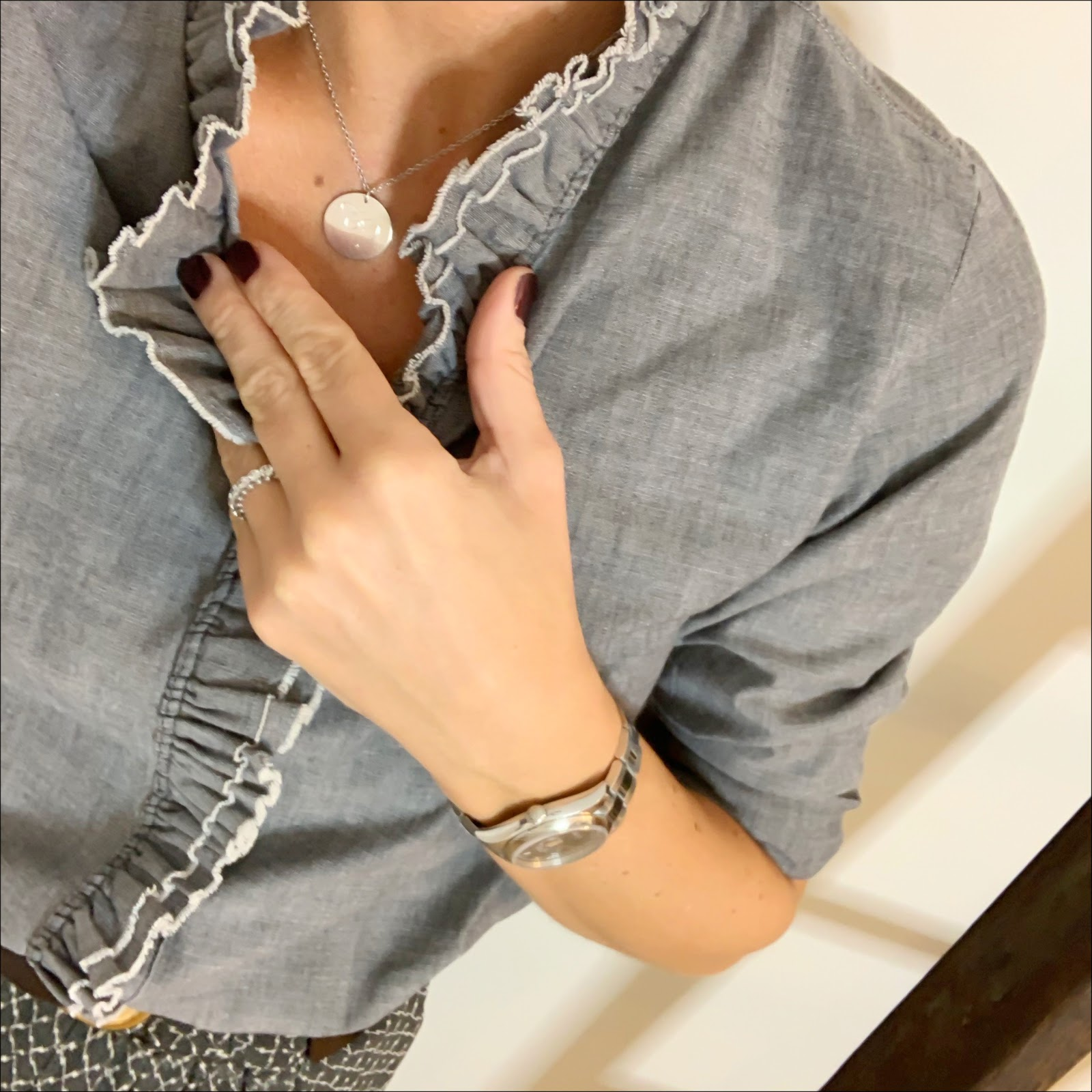 my midlife fashion, messages in metal initial pendant, isabel marant ruffle chambray shirt, isabel marant etoile ruffle maxi skirt, hush thornton ankle boots, and other stories waist buckle belt
