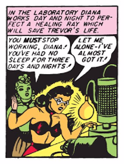 Wonder Woman (1942) #1 Page 9 Panel 8: Diana works feverishly to create a healing ray to save Steve Trevor.