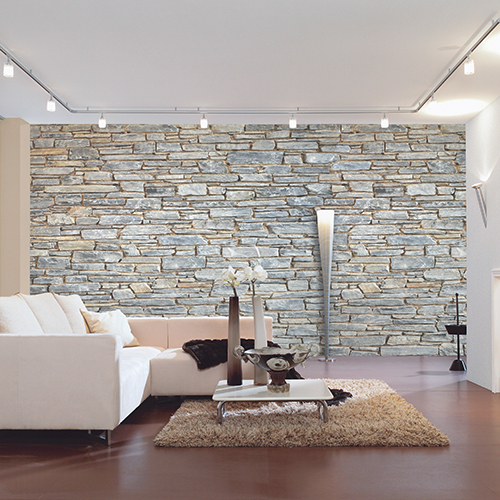 Brick Wall Mural Grey Stone