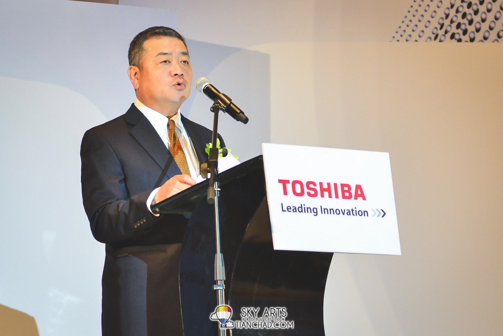 Mr Hitoshi Katayama, the Managing Director of Toshiba Sales and Services Sdn Bhd giving speech