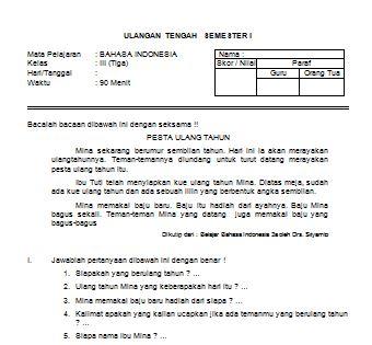 Download Contoh Soal UTS Bahasa Indonesia SD Kelas III Semester I Format Microsoft Word