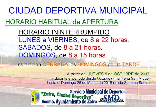 Zafra ciudad deportiva horarios instalaciones y for Puerta 8 ciudad deportiva