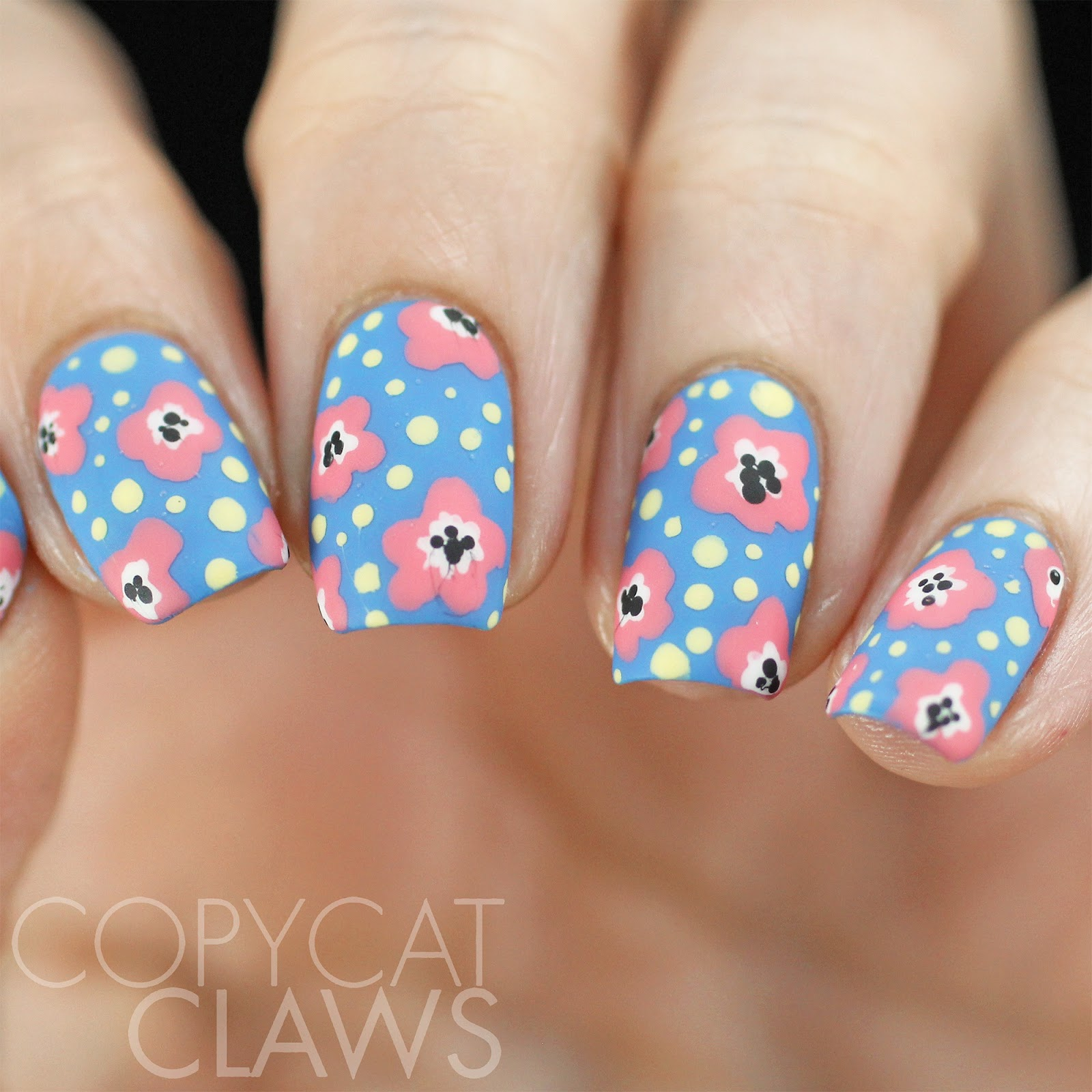 Copycat claws 40 great nail art ideas floral for these i used two coats of opi rich girls po boys as a base the flowers were done with got myself into a jam balaya and white and black solutioingenieria Choice Image