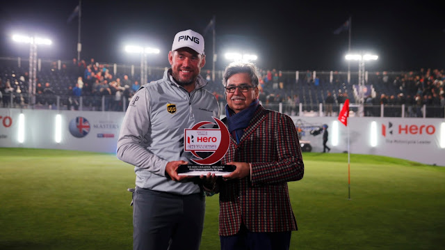 British Golfer, Lee Westwood wins the exciting night golf contest 'Hero Challenge' at the British Masters 2017