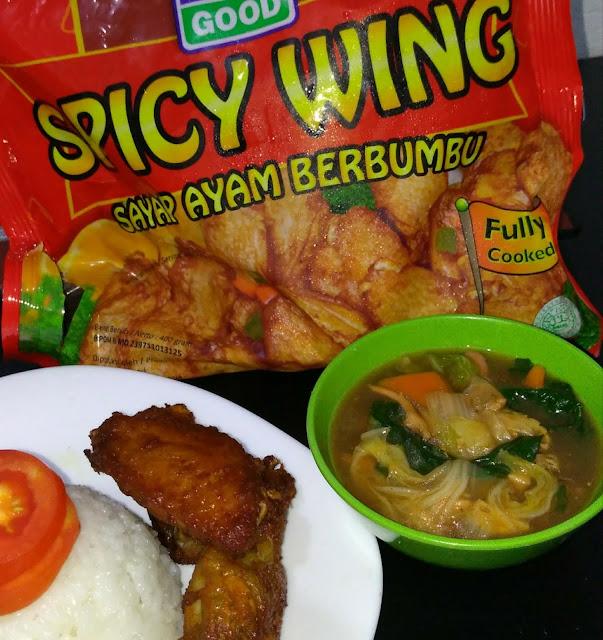 Nasi Cap Cay With Ayam Spicy Wing So Good