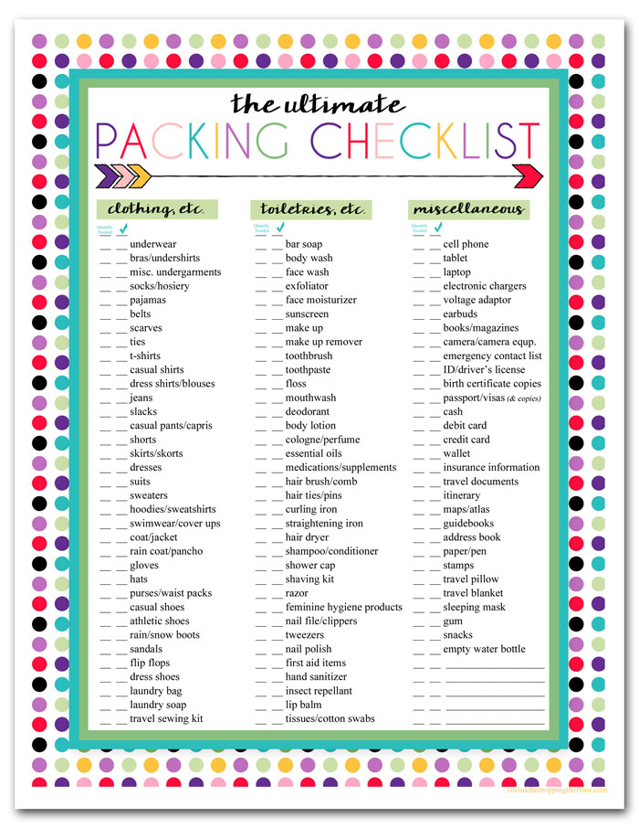 Free Printable Trip Packing Listi should be mopping the floor