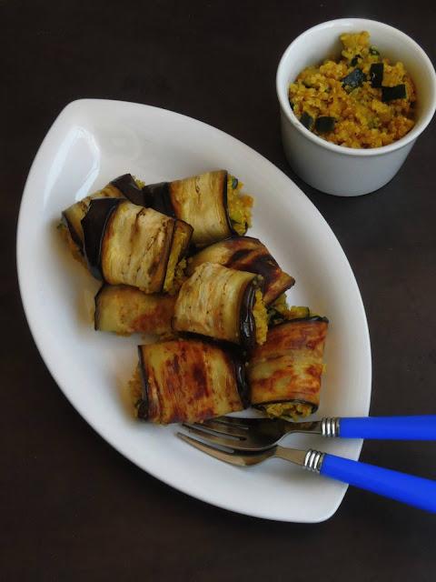 Spiced Quinoa Eggplant rolls