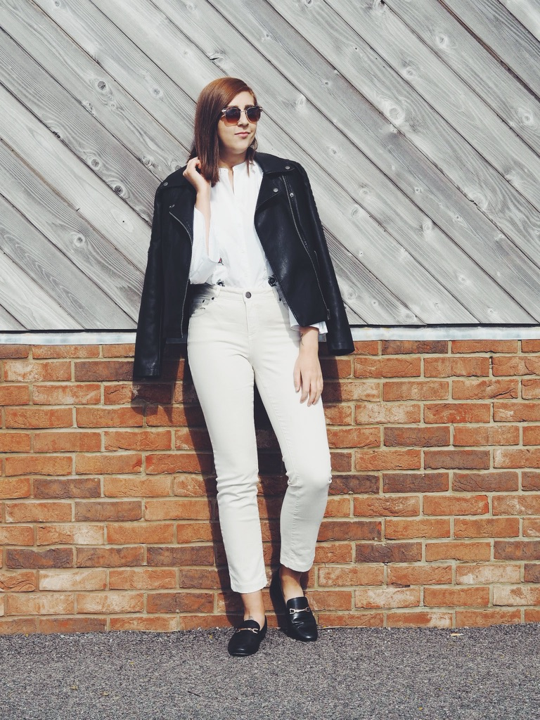 fbloggers, fashion, fashionblogger, wiw, whatimwearing, asseenonme, flutedsleeves, topshop, asos, creamjeans, asoscreamjeans, fauxleatherjacket, fashionbloggers, blackloafers, summerlook, summerfashion