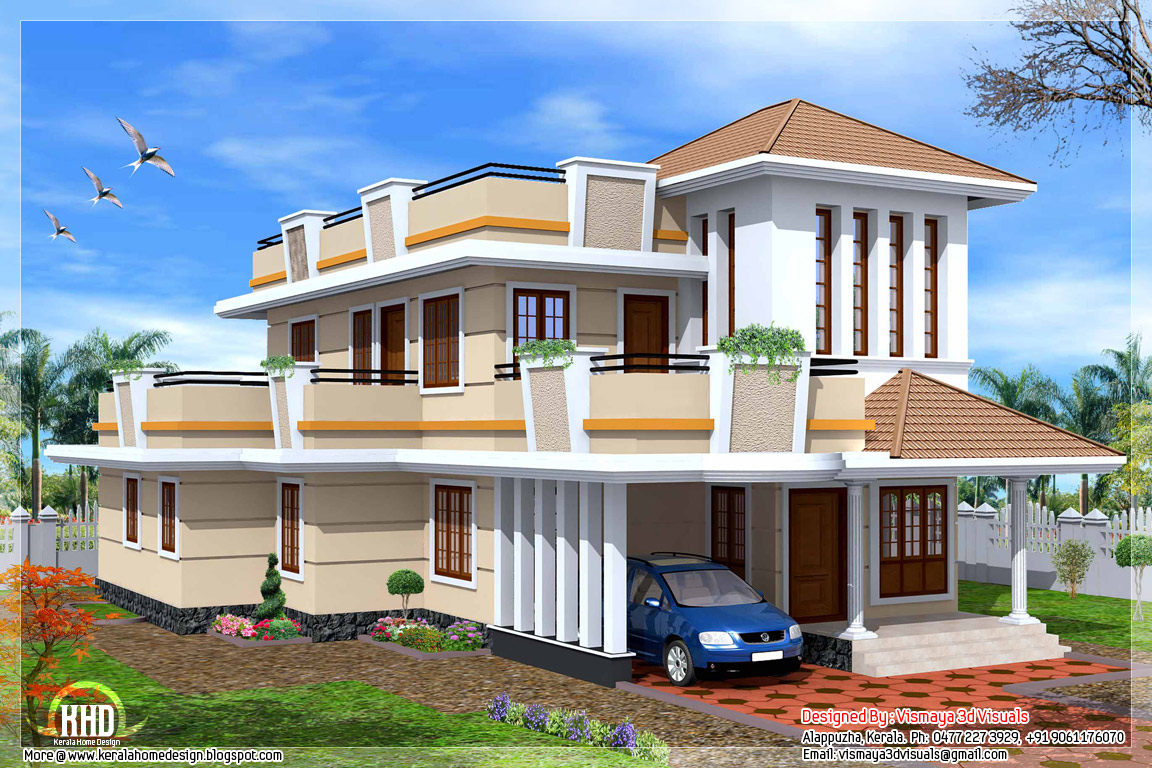 2326 4 bedroom double storey house kerala home for Two storey house design with floor plan with elevation