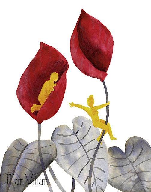Inktober, Inktober 2016, plantas, anthurium, ilustración a tinta, silueta humana, tinta, aguada de tinta, quink, tinta parker