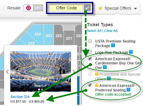 US Open Amex Promo Code