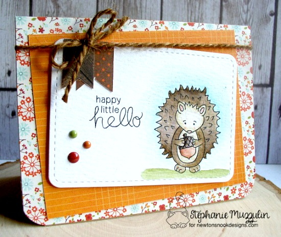 A Happy Little Hello Card by Stephanie Muzzulin | Hedgehog Hollow Stamp set by Newton's Nook Designs #newtonsnook