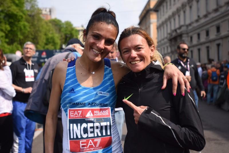 IO Corro e MyMARATHON, i progetti running a misura di donna - Ph Lapresse - Anna Incerti, Valeria Straneo (a sx.) e un momento dell'ultima edizione di EA7 Emporio Armani Milano Marathon