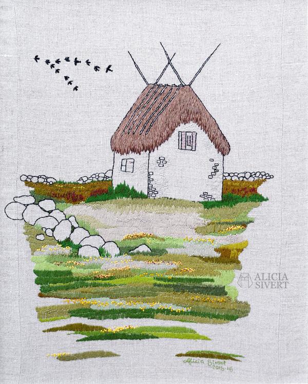 """Lambgiftet"" embroidery by Alicia Sivertsson, 2015-2016. broderi, needlework, hoop art, textile art, textilkonst, konst, textil, tyg, sy, gotland, lambgift, stenvast, stenmur, hur, byggnad, building, halmtak, skapa, skapande, kreativitet, creativity, create, lambigften, sömnad, gotland, gotländskt, faludden, agtak"