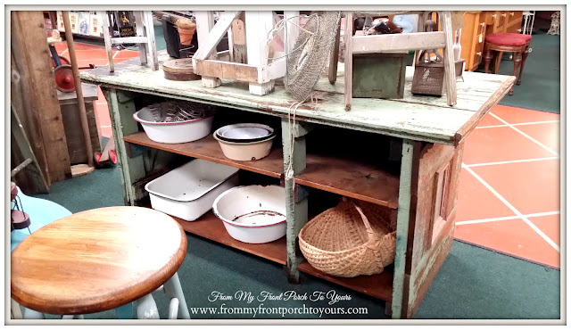 Vintage Store Counter-Kitchen Island-A Day Antiquing- Antique Shopping