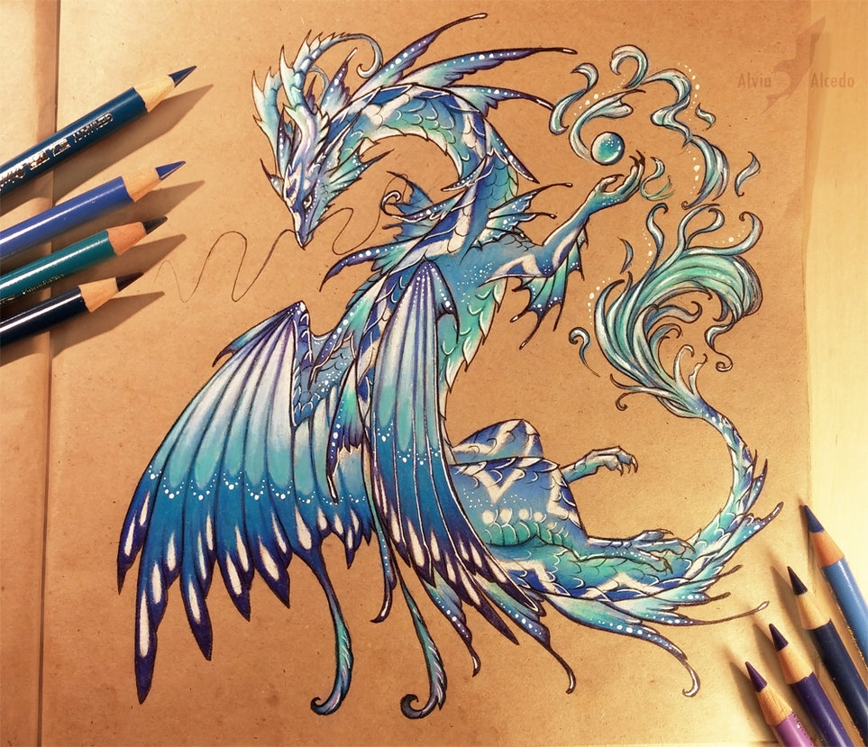 01-Water-dragon-Alvia-Alcedo-Dragon-and-other-Mythical-Fantasy-Drawings-www-designstack-co