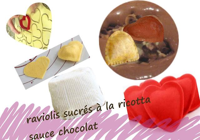 raviolis dessert, sucrés, fourrés à la ricotta, sauce chocolat, en forme de coeur,