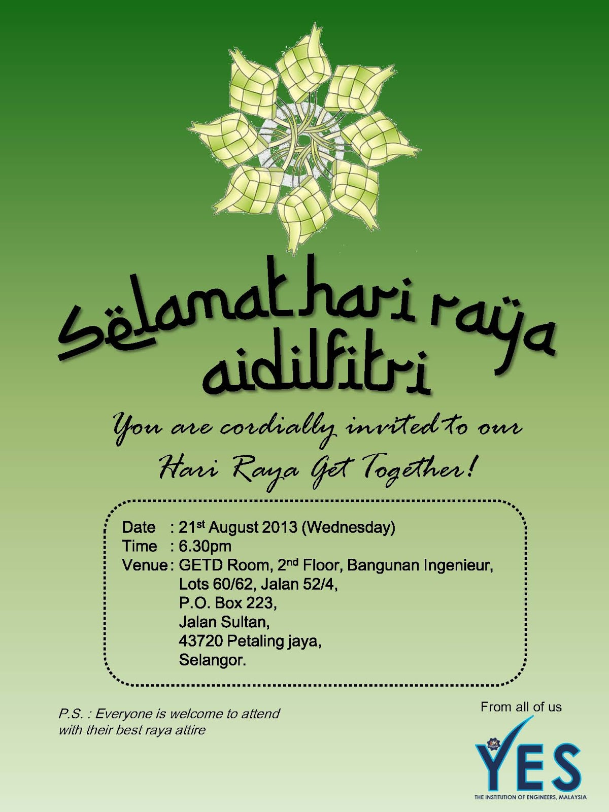 Invitation To Our Hari Raya Get Together  Invitation Card For Get Together