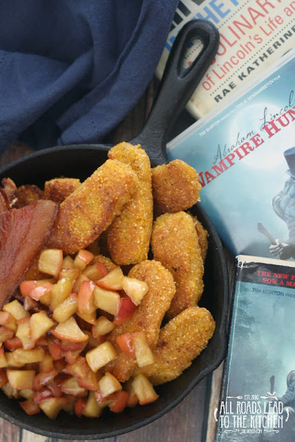 Corn Dodgers w/ Maple Apples & Jowl Bacon inspired by Abraham Lincoln: Vampire Hunter