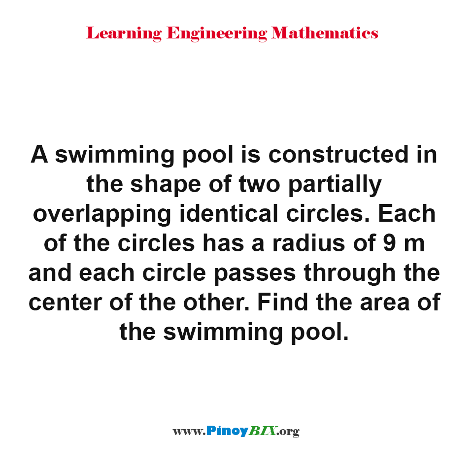 Find the area of the swimming pool in the shape of two partially overlapping identical circles