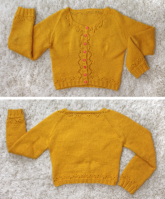 The Butterfly Balcony - Mustard Miette Cardigan Flat View Front & Back