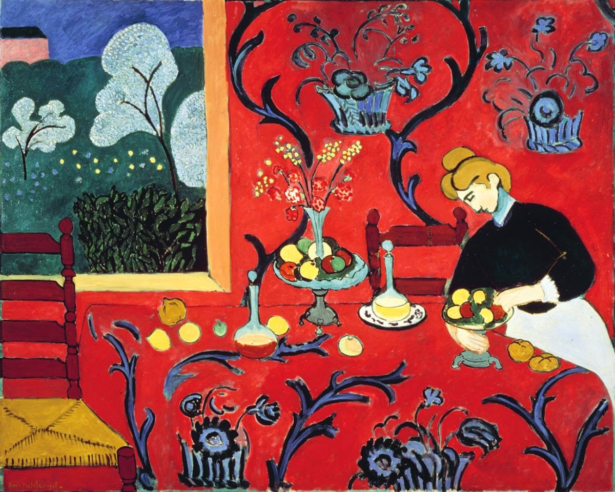 A Sobremesa: Harmonia em Vermelho - Pinturas de Matisse, Henri - (Fauvismo) Francês